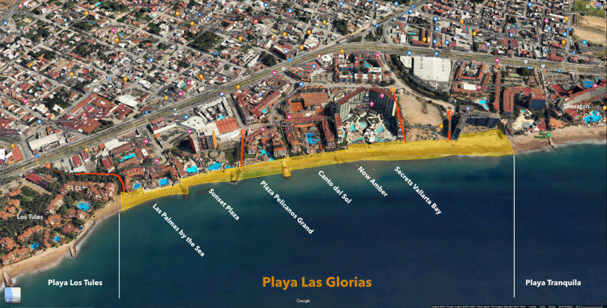 Las Glorias Beach access points and hotels