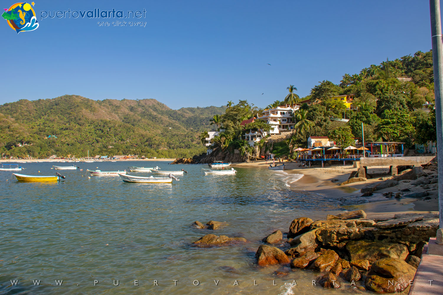 Yelapa town as seen from the west pier (Cabo Corrientes, Jalisco, Mexico)