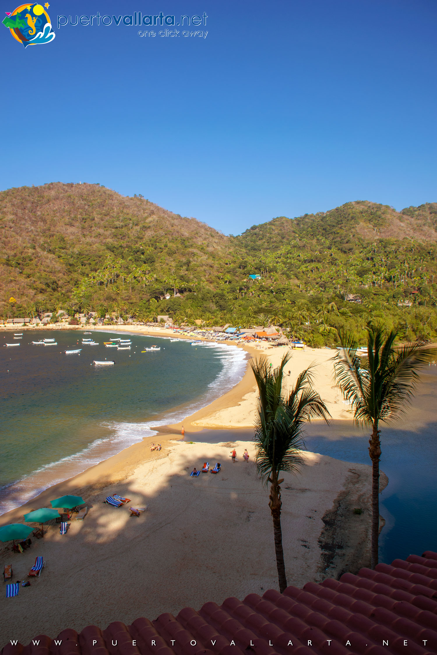 Yelapa's Main Beach from the west, El Tuito River Mouth (Cabo Corrientes, Jalisco, Mexico)