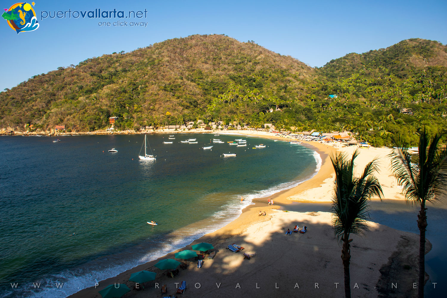 Yelapa's Main Beach from the west and El Tuito River mouth (Cabo Corrientes, Jalisco, Mexico)